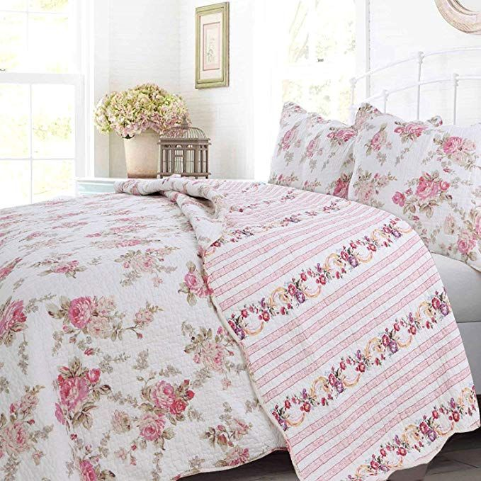 Cozy Line Home Fashions Floral Peony Quilt Bedding Set Shabby Chic Pink Ivory Flower Printed 100 Cotton Rever Cotton Quilt Set Quilt Sets Bedding Quilt Sets