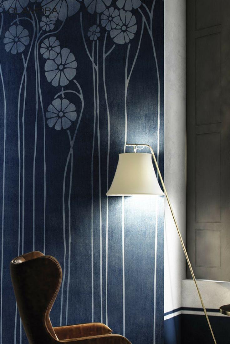 Daisy Blue | Natural Wallcovering & Carta da Parati | Denim Collection by Glamora