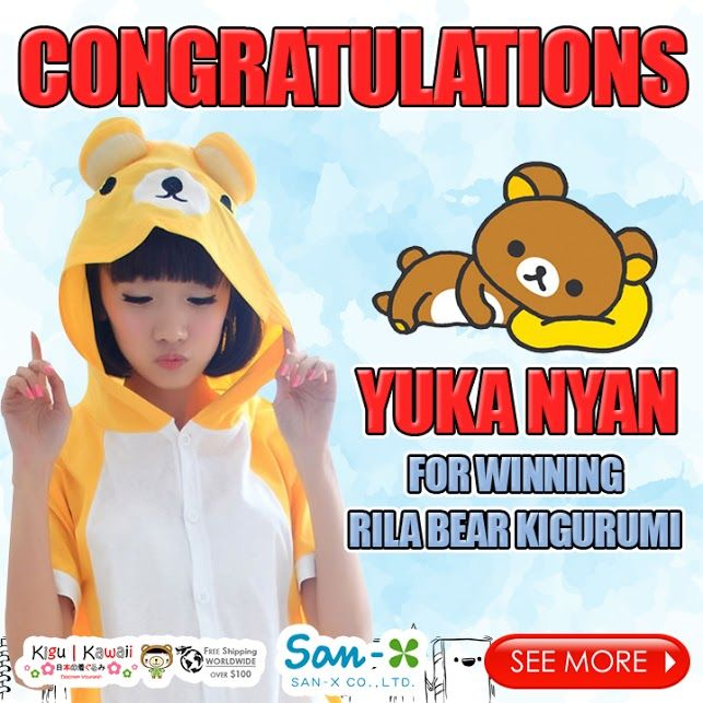 Our Lucky Adorable Back-to-School Animal Kigurumi Giveaway winner is finally here! (◍•ᴗ•◍)♡ ✧*。 Congratulations to Yuka Nyan for winning Rilakkuma Bear Spring Kigurumi! Please kindly message us on support@kigukawaii.com on how to claim your prize.  Our endless thank you to everyone who supported our giveaway! With so much gratitude, we would like to give everyone who participated the contest a discount code!   Here's your 10% discount #KiguKawaii lovers!  Coupon code: LoveKiguKawaii