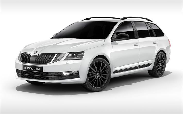Download wallpapers Skoda Octavia Combi, Sport Edition, 2018 cars, wagons, Skoda Octavia
