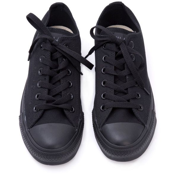 Sneakers / Creepers   Shoes (74 PEN) ❤ liked on Polyvore featuring shoes, sneakers, converse, footwear, black trainers, black sneakers, black low tops, black creeper shoes and black low top shoes
