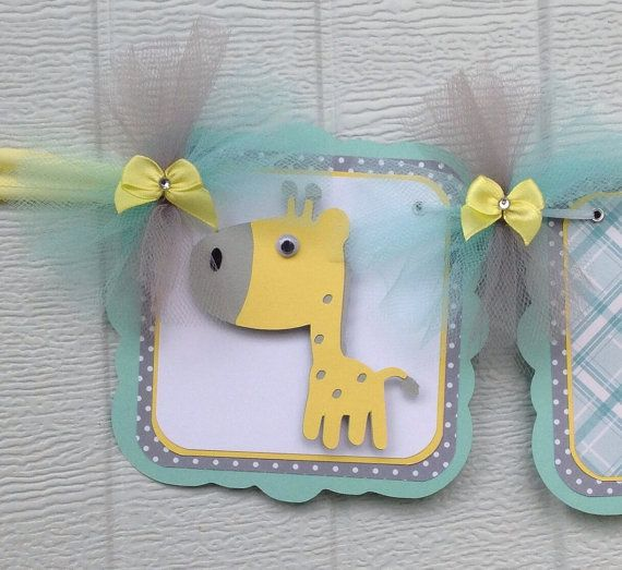 giraffe banner giraffe baby shower teal yellow gender neutral baby