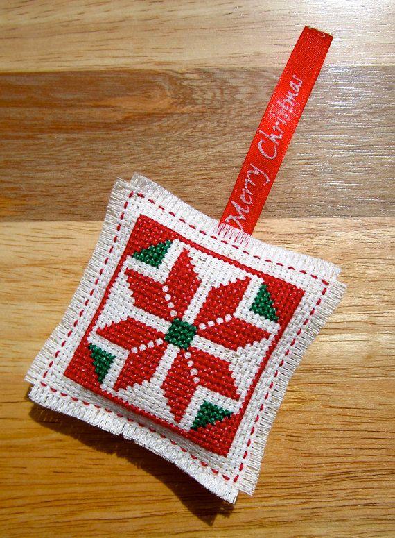 Single Poinsettia Handmade Cross Stitch Christmas Tree Holiday Ornament