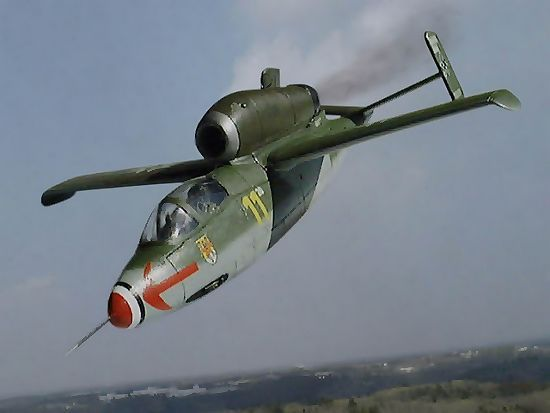 """The Heinkel He 162 Volksjaeger (German, """"People's Fighter""""), the name of the project of the Emergency Fighter Program design competition, was a German single-engine, jet-powered fighter aircraft fielded by the Luftwaffe in World War II. Designed and built quickly, and made primarily of wood as metals were in very short supply and prioritised for other aircraft, the He 162 was nevertheless the fastest of the first generation of Axis and Allied jets."""