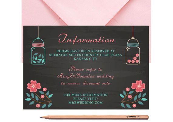 Mason Jar Bestpoke Wedding Information Card by LoveArtsStationery