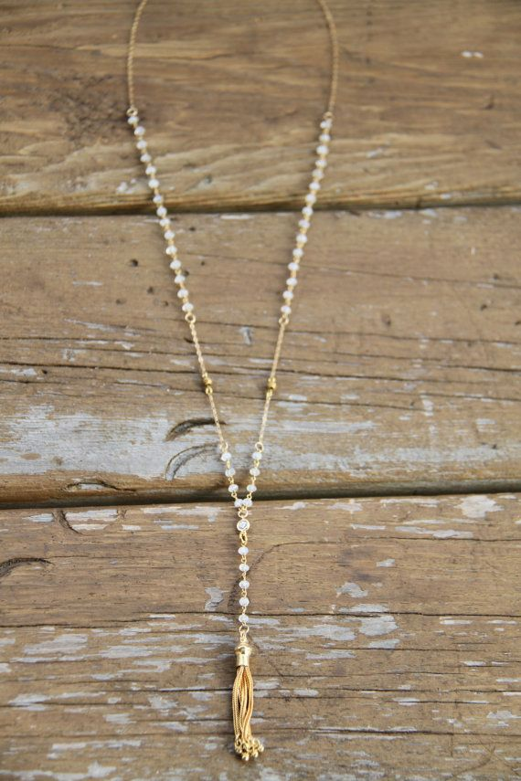 Moonstone Rosary Necklace Rosary Necklace by WanderandLustJewelry, $74.00