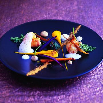 sauté of langoustines, roasted heritage carrots, carrot purée, buttermilk