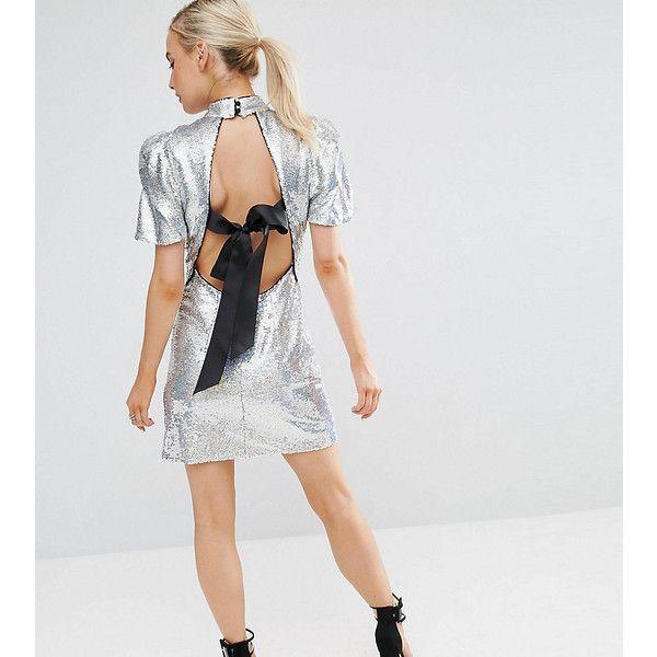 ASOS PETITE 80's Sleeve Sequin Iridescent Bow Back Mini Dress ($93) ❤ liked on Polyvore featuring dresses, petite, silver, puff sleeve dress, sequin bodycon dress, ruched bodycon dress, petite cocktail dress and petite dresses