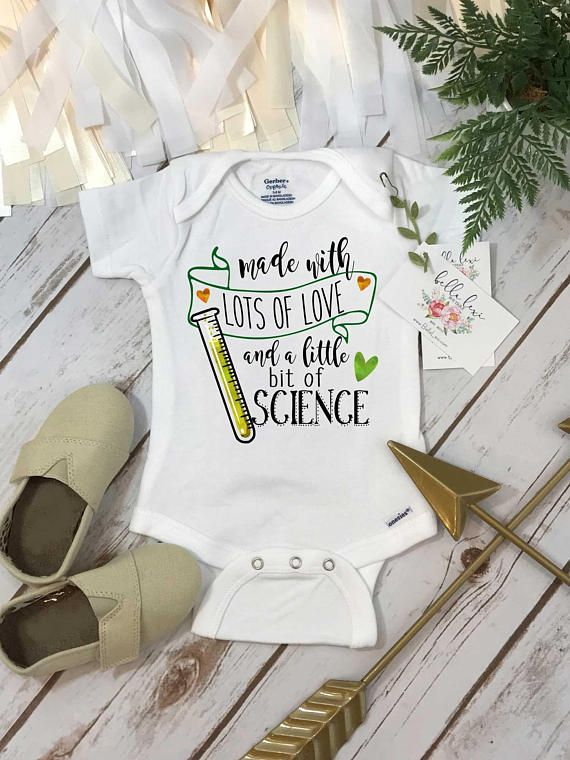 """c7629e063 """"Made with lots of love and a little science"""" Such a cute way to announce  you are expecting! This baby bodysuit or t-shirt is designed for both boys  and ..."""