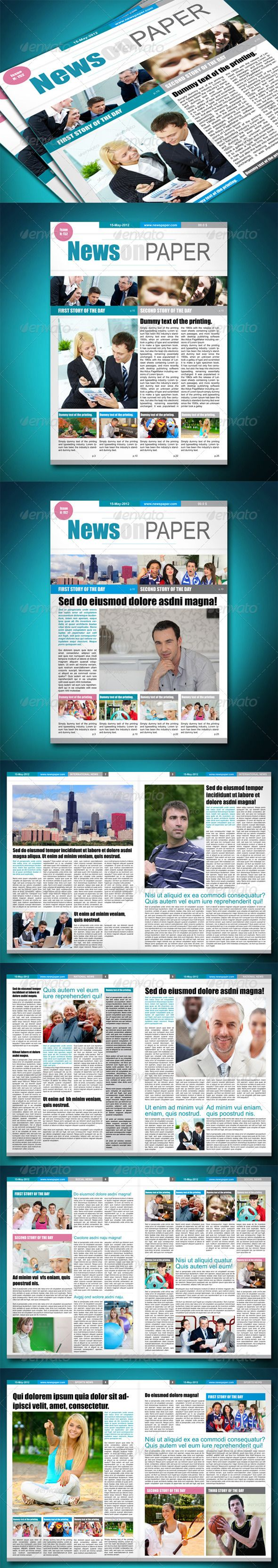 Newspaper Template - Newsletter Template InDesign INDD. Download here: http://graphicriver.net/item/newspaper-template/2357819?s_rank=435&ref=yinkira
