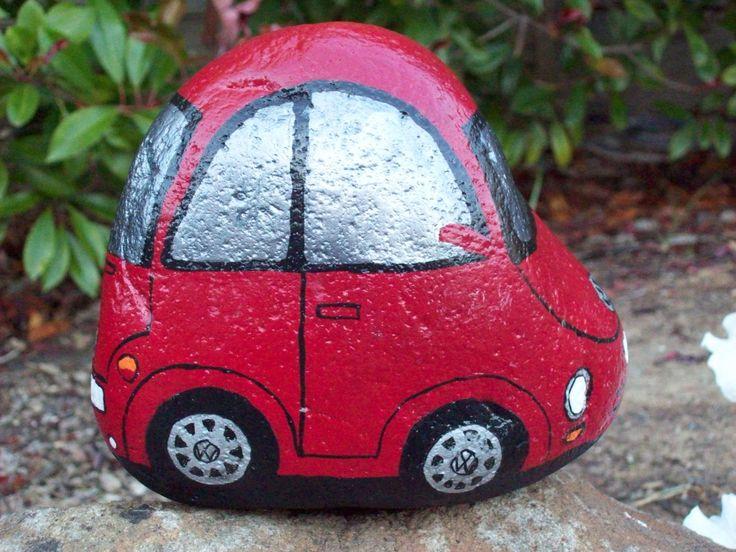 Red VW Volkswagen Bug Beetle Painted River Rock by Rhocolate