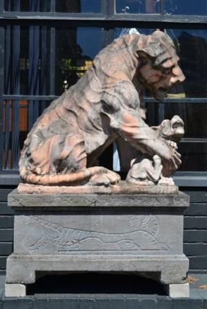 A Pair of Monumental Marble Lionesses with Cubs