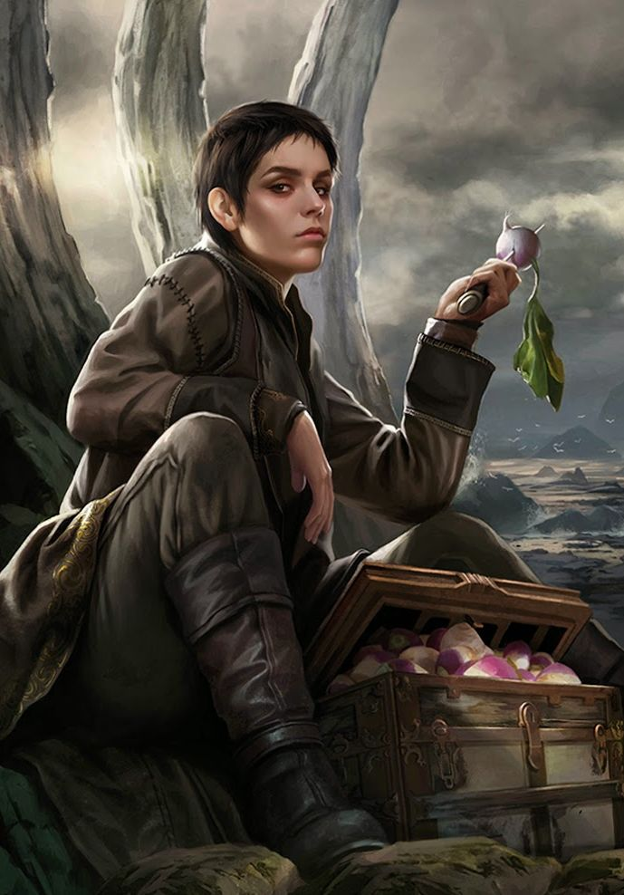 As a child Asha Greyjoy was a skinny girl with a face full of pimples. The adult Asha is lean and longlegged, with black hair cut short, wind-chafed skin, and strong hands. Theon thinks her nose is too big and too sharp for her thin face, but that her smile makes up for it. -- A Wiki of Ice and Fire (illustrated by Magali Villeneuve)
