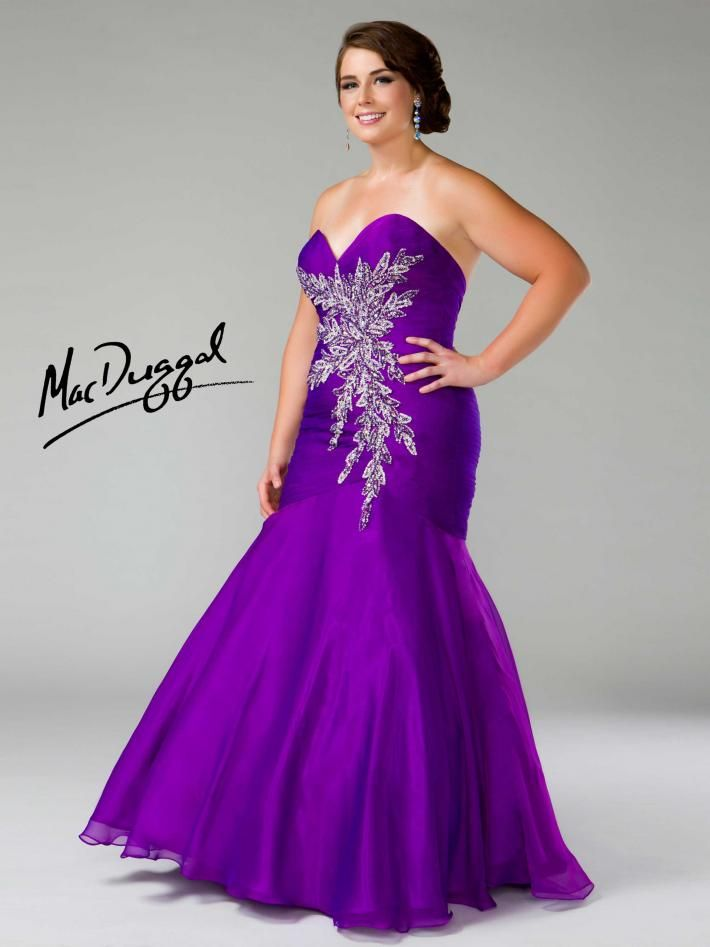 Plus Size Mac Duggal Prom Dress strapless bright purple evening gown