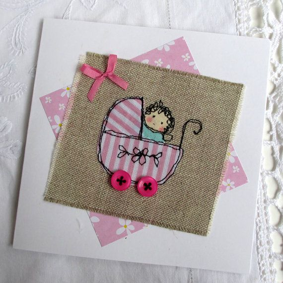 Greetings card PRAM with BABY GIRL freestyle by FlutterbyStitch, $5.50                                                                                                                                                                                 More