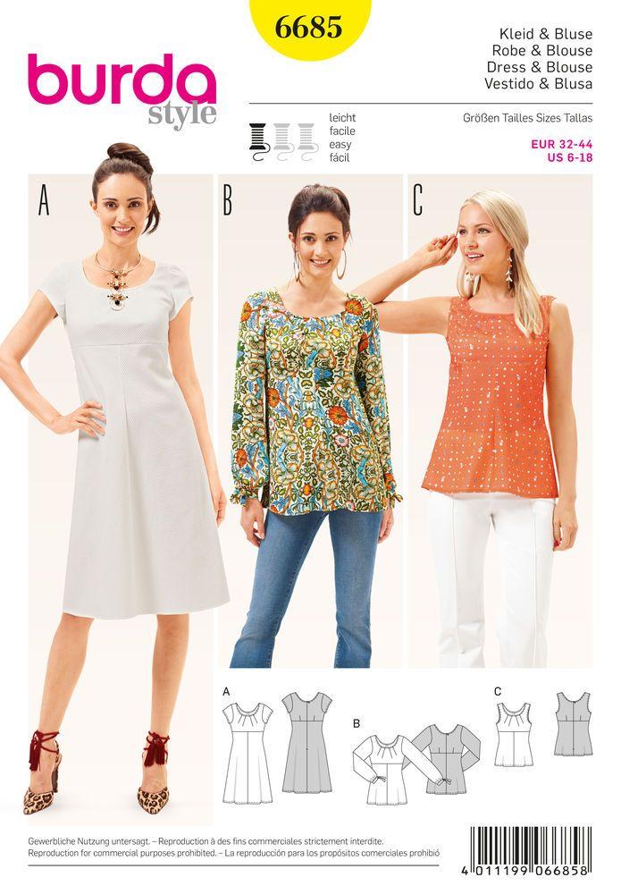 Burda Style Pattern 6685 Women& Dress and Blouse