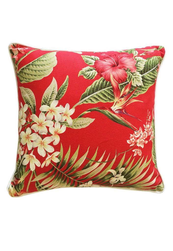 Cushion Cherry Red Barkcloth Piping Zipper Beautifully handmade