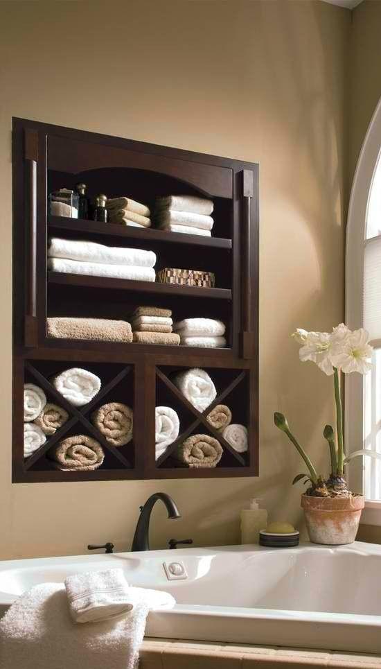 Built in Bathroom Towel Shelf