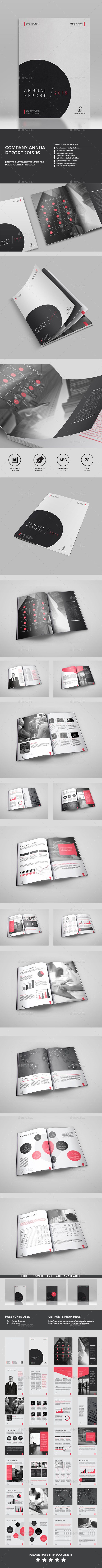 Annual Report It's a 28 page Clean Company Annual template is for company or office and agency based projects.