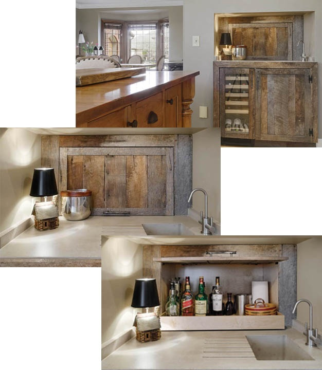 Reclaimed wood wet bar houses wine cooler, sink and hidden liquor cache.  Photos are courtesy of Dave Fox Design/Build Remodelers.