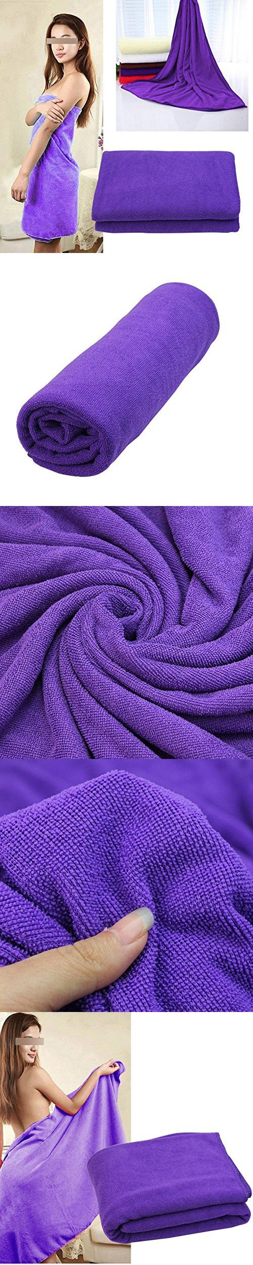 Luxury Purple Microfiber Bath Towel Fast Drying Fitness Beach Swim Camping Hot 140X70Cm