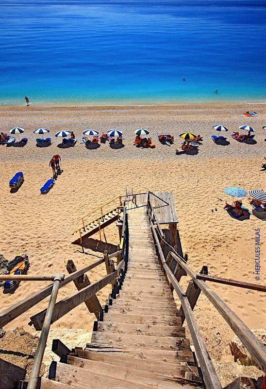Steps leading down to the award winning Egremni beach in Lefkada
