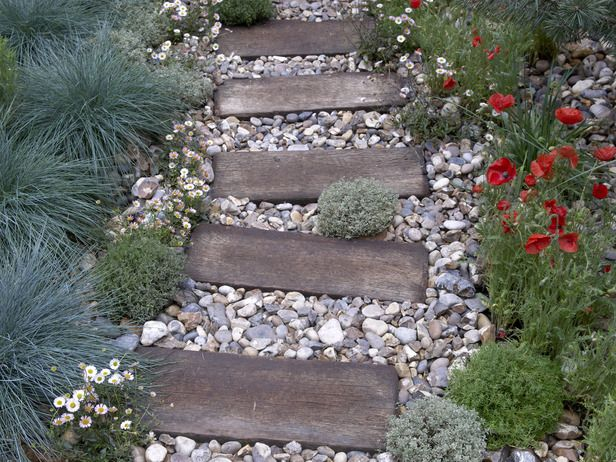 Ties - Lay it Down: A Guide to Landscaping Surfaces on HGTV | Wooden ties are…