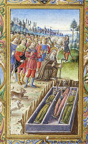 Enluminure - Rencontre des 3 vifs et des 3 morts - Livre d' Heures - Florence  1490-99.