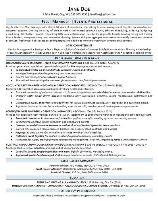 Fleet Manager Resume examples, Management, Event management