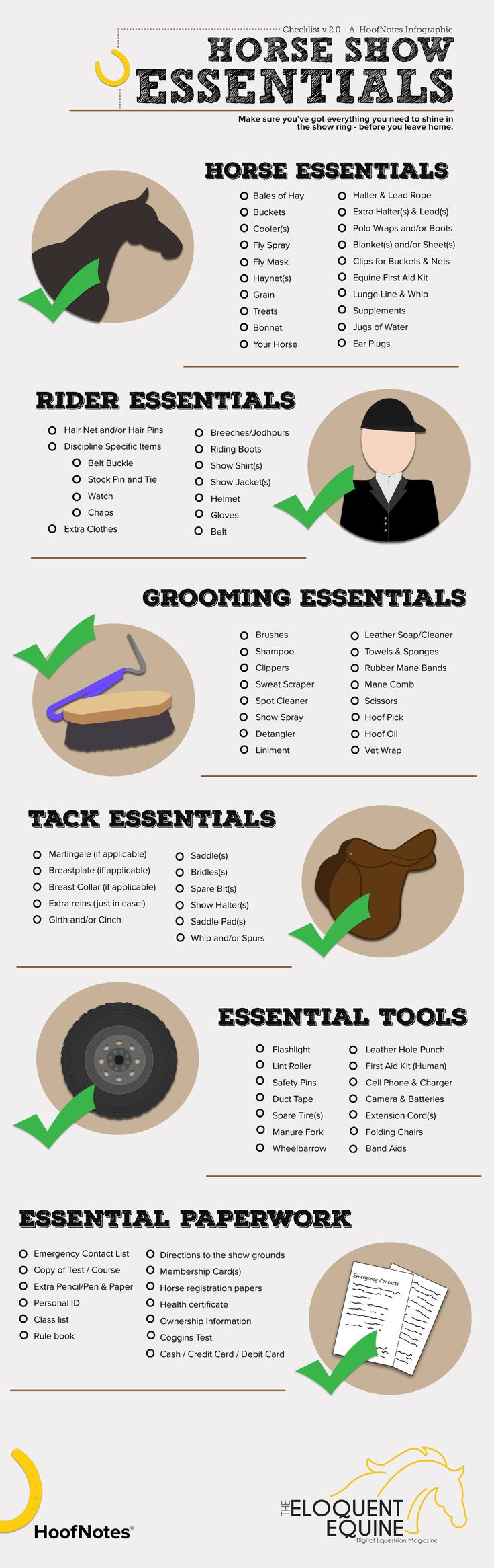 We've gone back to the drawing board with this infographic and redesigned our original Horse Show Essentials Checklist into something beautiful (and still super handy)!