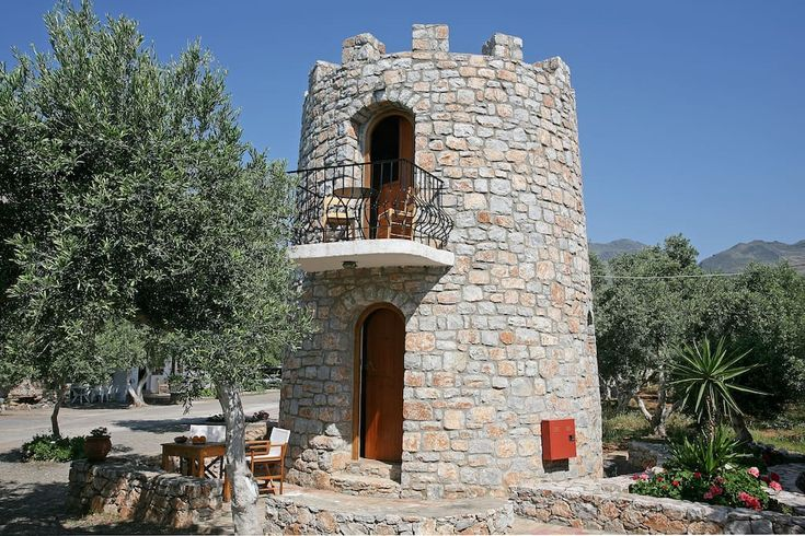 "Castle in Fragkokastello, Greece. Self catering tower house with a double  bed on the first floor and a small sofa bed on the living room. Just over ""Orthi Ammos"" beach, 30seconds walk from the entrance of the beach and an other 60"" to your preferred point on the beach.  Welcome t..."