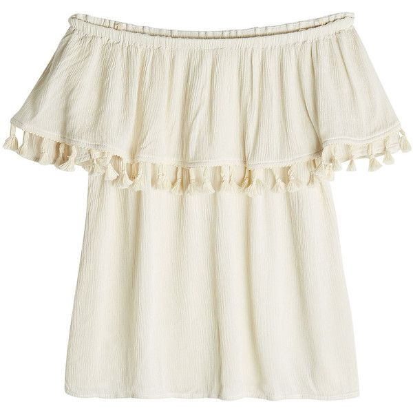 Velvet Bardot Top (505 BRL) ❤ liked on Polyvore featuring tops, beige, boho tops, white bohemian top, cream top, white boho top and beige top