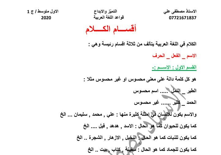 ملخص كامل قواعد اللغة العربية اول متوسط 2020 الكورس الاول اهلا بكم متابعي موقع وقناة الاستاذ احمد مهدي شلال في هذا الموضوع سنعرض لكم شر In 2021 Math Math Equations