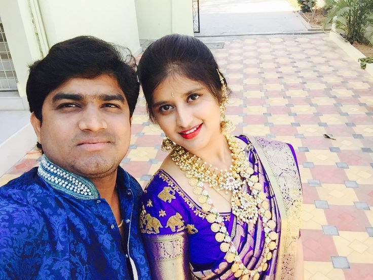 Aishinduri #bride in dark blue kanchipuram saree and antique heavy jewellery