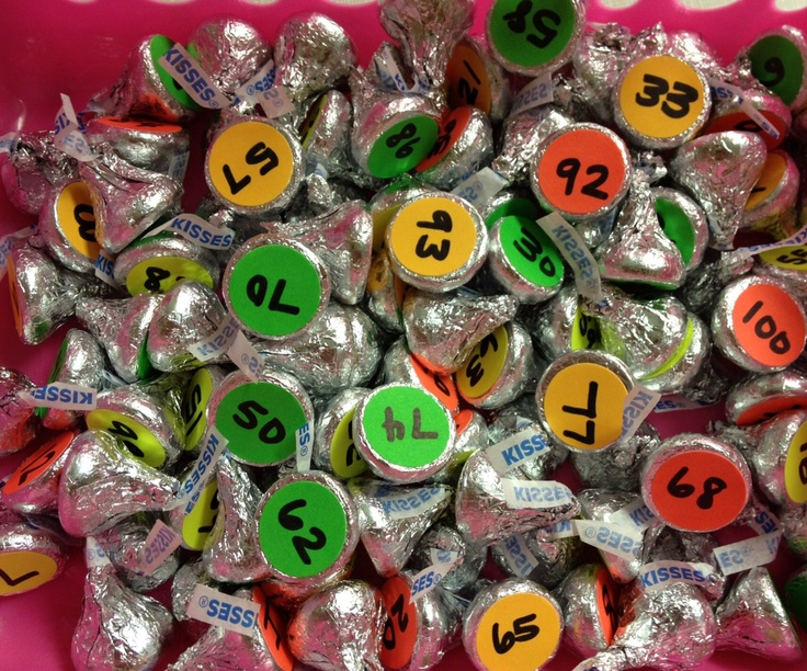 Our 100th day of school celebration!! Number hershey kisses, hide around the room, as they find them, they bring the kisses to me and they have to fill in that number on a hundreds chart.