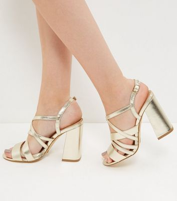 New Look Sale £9 Gold Strappy Block Heels