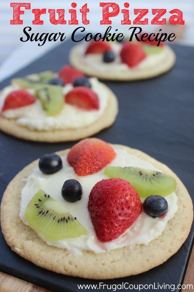 Sugar Cookie Fruit Pizza – Cookie Dough Crust and Cream Cheese Center #recipe #dessert
