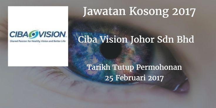 Jawatan Kosong Ciba Vision Johor Sdn Bhd 25 Februari 2017  Ciba Vision Johor Sdn Bhd mencari calon-calon yang sesuai untuk mengisi kekosongan jawatan Ciba Vision Johor Sdn Bhd terkini 2017.  Jawatan Kosong Ciba Vision Johor Sdn Bhd 25 Februari 2017  Warganegara Malaysia yang berminat bekerja di Ciba Vision Johor Sdn Bhd dan berkelayakan dipelawa untuk memohon sekarang juga. Jawatan KosongCiba Vision Johor Sdn Bhd Terkini Februari 2017 : Pengurus Manager (Engineering Production Water &Saline Systems Project Management) Jurutera Kanan Senior Engineer (quality Engineering Project Management) Penguasa Kanan Senior Superintendet (Production) Eksekutif Executive (Lab Compliance) Pegawai Kimia Kanan/microbiologi Kanan Senior Chemist/Senior Microbiologist Juruteknik/Juruteknik Kanan Technician/Senior Technician (Production) Pembantu Stor Warehouse Assistant Inspekctor QA QA Inspector Operator Pengeluaran Production Operator TEMUDUGA TERBUKA Tanggal : 25 Februari 2017 Masa : 09.00 am - 5:00 pm tempat : Dewan Jubli Intan Pontian Calon yang Berminat boleh Menghantar resume yang lengkap ke alamat (sila nyatakan jawatan yang dipohon): Jabatan Sumber ManusiaCIBA VISION Johor Sdn Bhd (711414-W)No 1 Jalan DPB/5 Pelabuuhan Tanjung Pelepas81560 Gelang Patah JohorNo Tel: 07-5043617/73018/3639E-mel:cvjpost.resume@al.con.com  via JobsJohor Jawatan Kosong Johor 2017 Johor