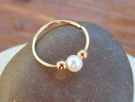 Tiny hoop 14k gold filled with natural freshwater pearl bead , cartilage, tragus helix piercing,septum, nose ring, earring~