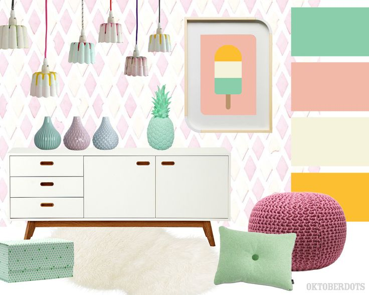 Super sweet candy #kidsroom #bedroom collage with #colorscheme and a icecream print poster