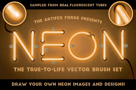 Neon - Realistic Brush Set by The Artifex Forge on @creativemarket