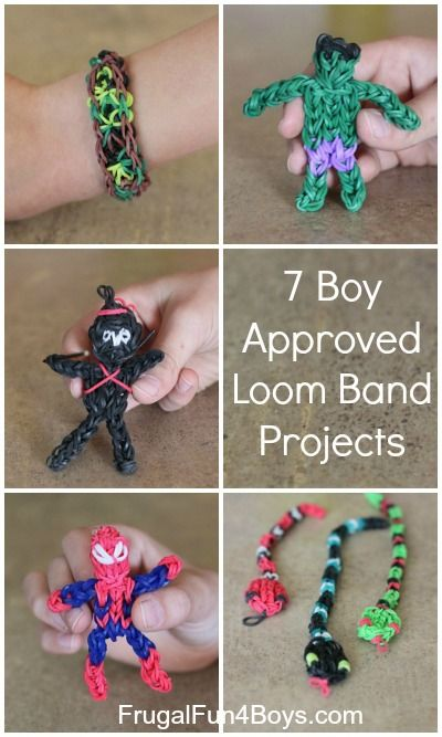 """Seven """"Boy Approved"""" Rainbow Loom Band Projects"""
