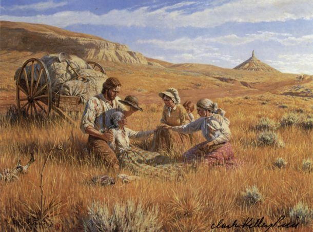 Pioneer Family burying their grandmother on the plains