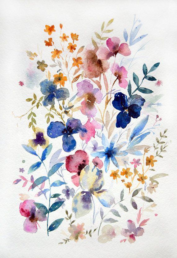 8 X 12 Abstrakten Blumen Aquarell Wilde Blumen Abbildung