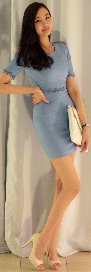 Luxe Asian Women Design Korean Model Fashion Style Athens Denim Dress