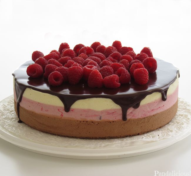 Three kind of chocolate, raspberries and brownie cake. ^_^