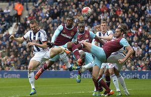 A group of players, including West Brom's Gareth McAuley and West Ham's Andy Carroll and Diafra Sakho put the boot in but miss the ball