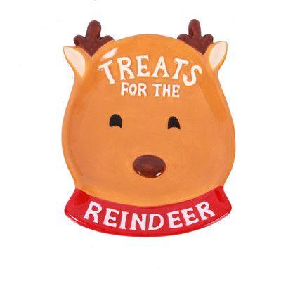 DEI Dear Santa Ceramic Treats for the Reindeer Plate