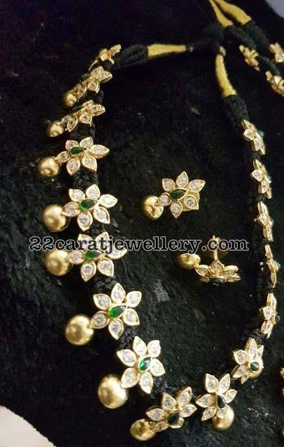 Silver metal Black Cord Necklaces