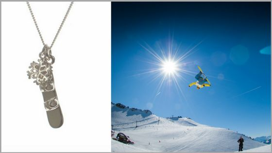 The perfect #gift for girls who #shred - the #Snowboard and #Snowflake necklace is available in our #Whistler village store and online! #passion #November